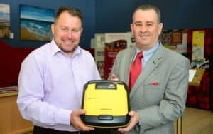 Niall Edwards presents Defibrillator to Barbicon